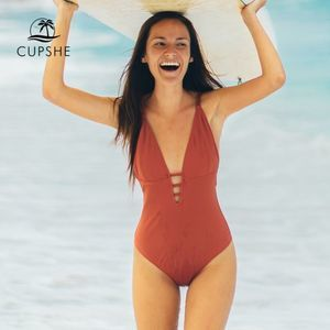 CUPSHE Orange Braided Strap One-Piece Swimsuit